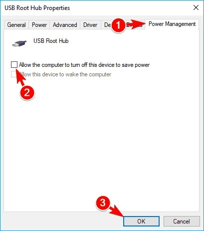disable the option of allow computer to turn off device