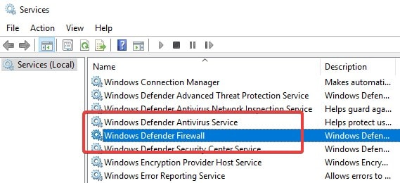 check and open windows  defender firewall and antivirus settings