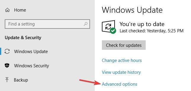 access advanced settings  of windows update