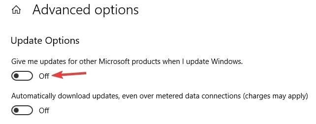 disable the microsoft  products update option