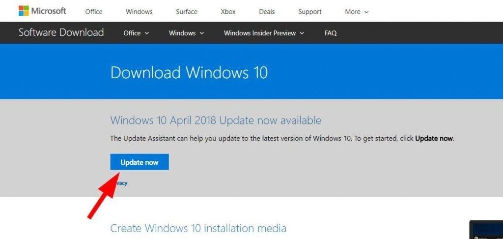 Windows 10 update  website page