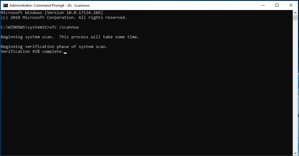 Windows command prompt  with sfc scannow command