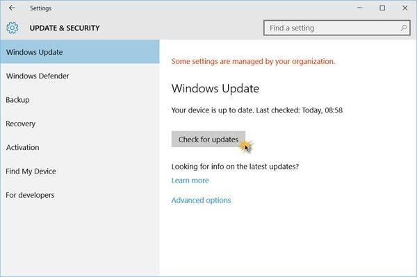 Windows 10 update  & security