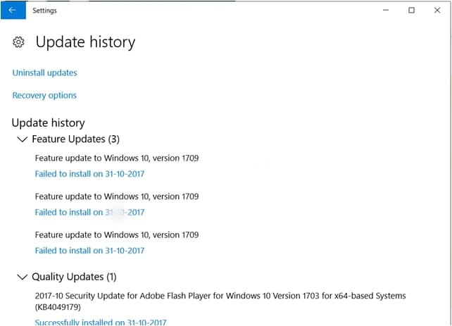 Windows 10 update history