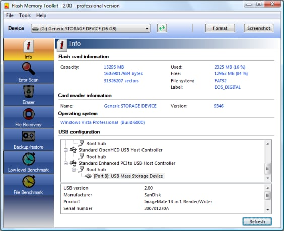 flash memory toolkit to check the speed of usb