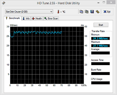 hd tune main interface screen to check usb speed
