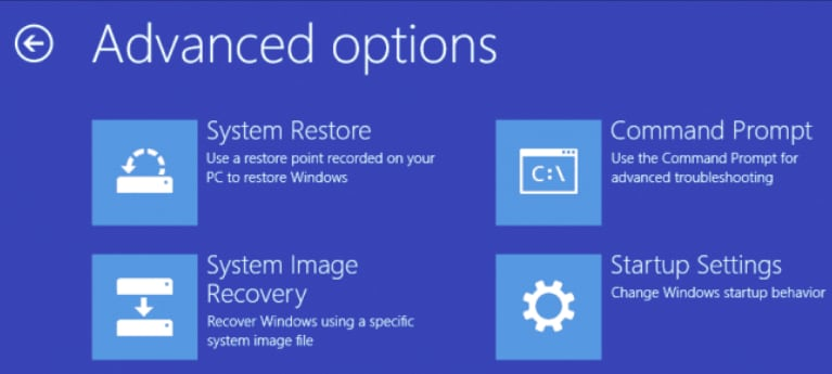 Advanced options menu for windows 7