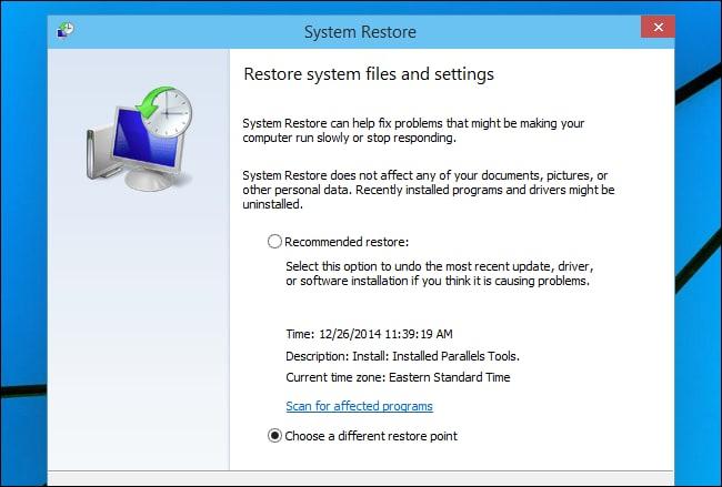 System restore option for windows 7