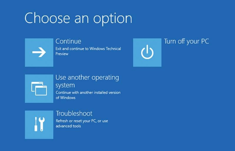 Advanced startup options for Windows 10