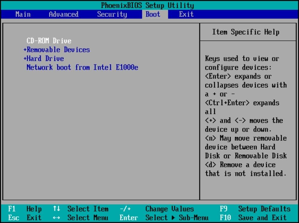 BIOS setup utility window