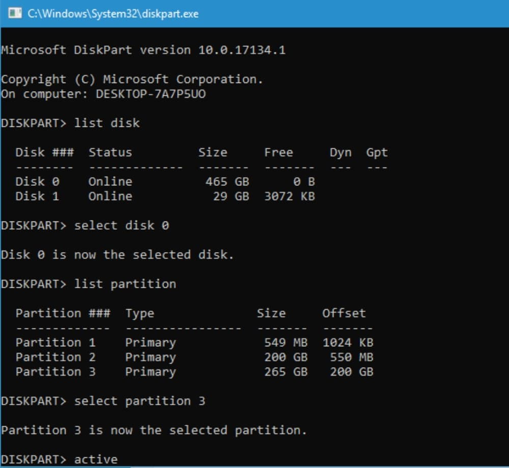 command prompt for activating partitions