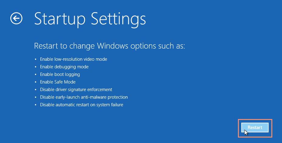 Startup settings window