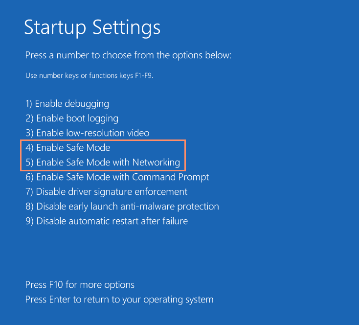 Startup settings window for safe mode