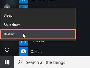 restart computer window