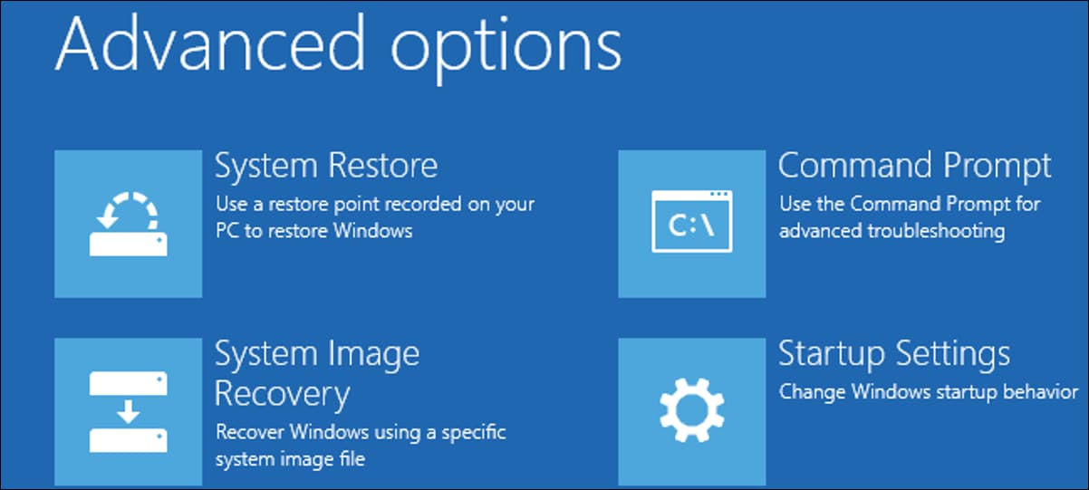 Advanced options recovery window