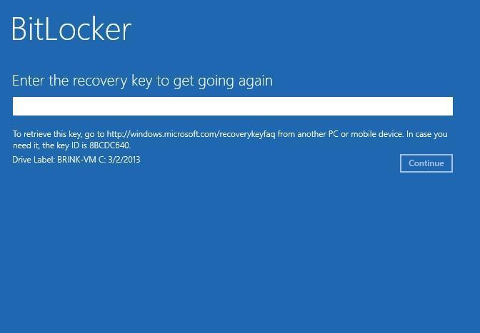 Bitlocker recovery key screen