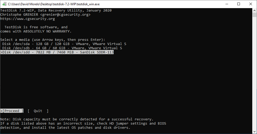 test disk command line results
