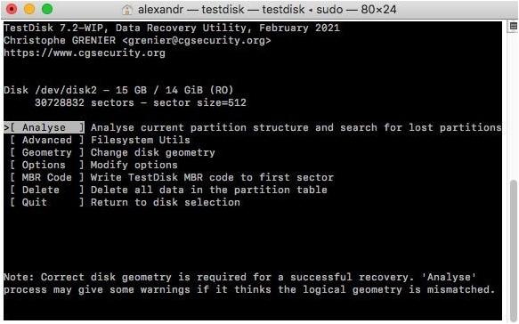 testdisk utility