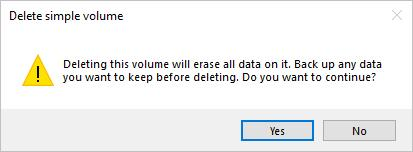 Delete simple volume window