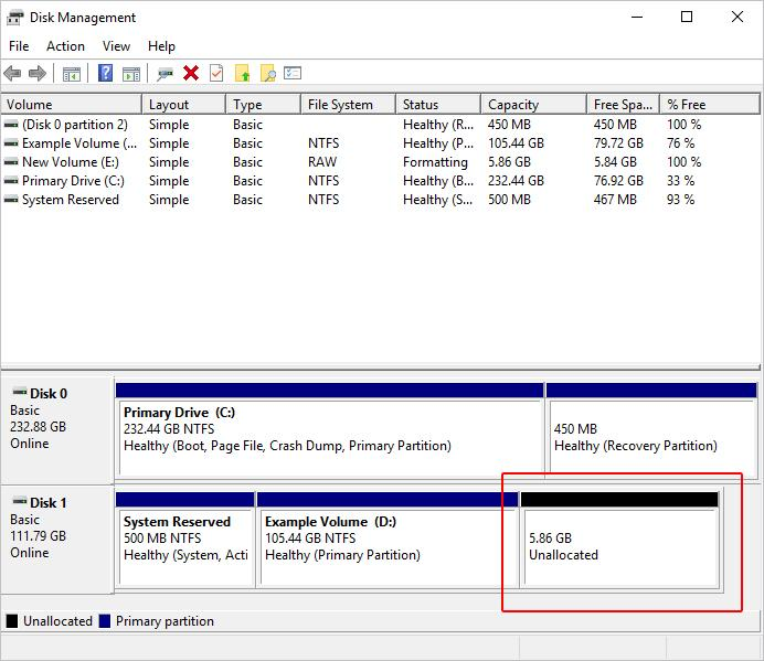 Disk management window showing the partition is now unallocated