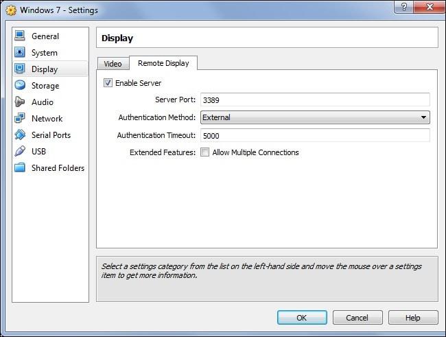 display in virtualbox