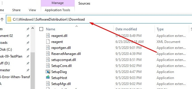 locating the download folder