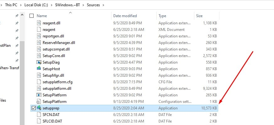 locating the setupprep file in the windows directory