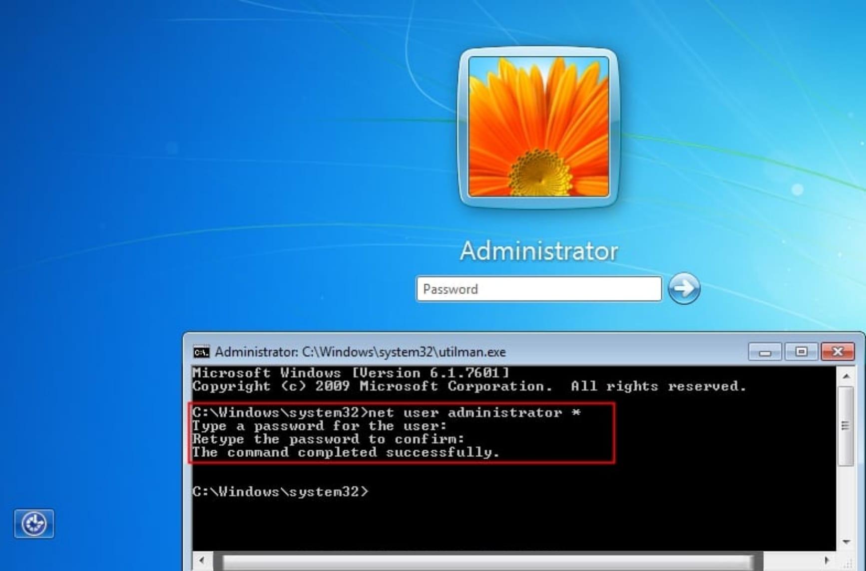 Windows 7  utilman command prompt