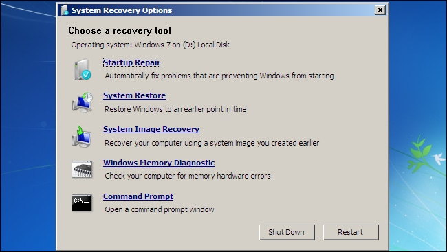 Windows 7 System recovery options window