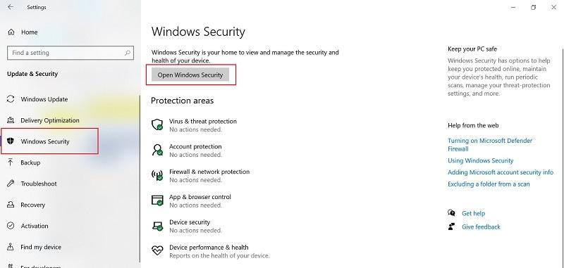 open-windows-security