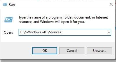 dialog box to enter the path for setupprep file in windows 10