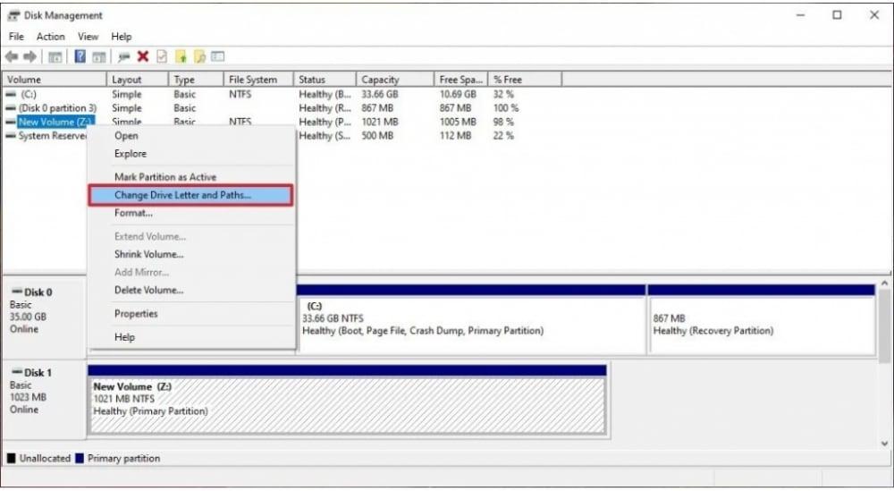 Disk management option for changing Drive letter