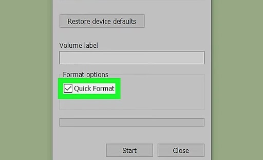 choose quick format