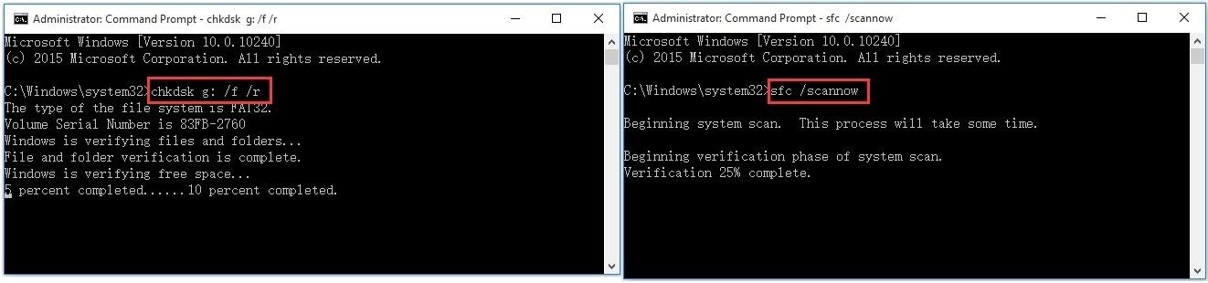 run chkdsk or system file checker