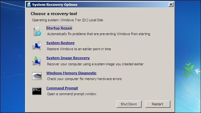 choose startup repair option