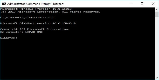 type diskpart command