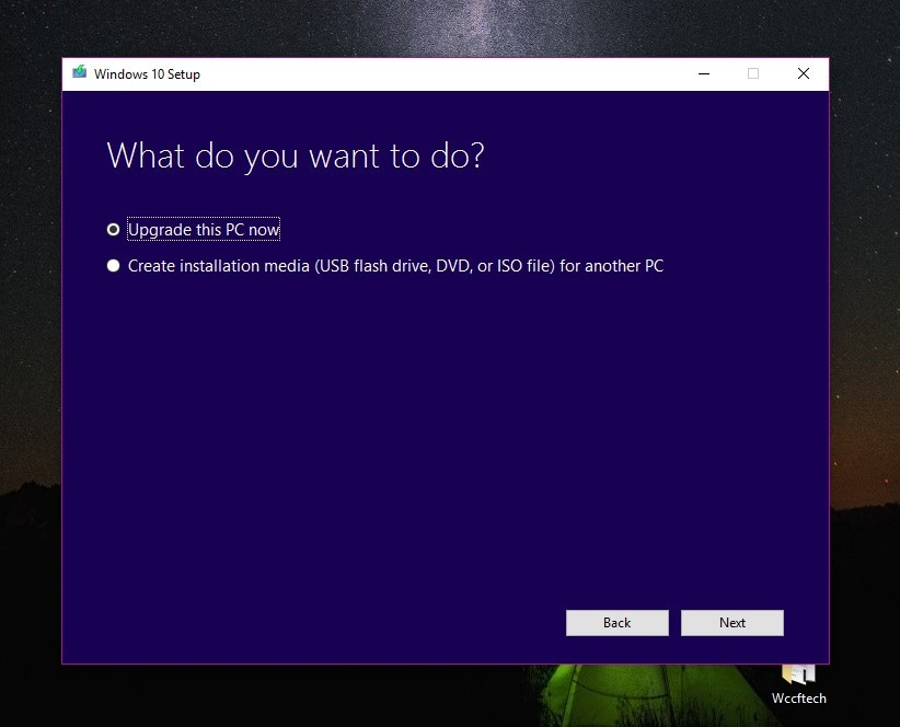 select the option of upgrade this pc