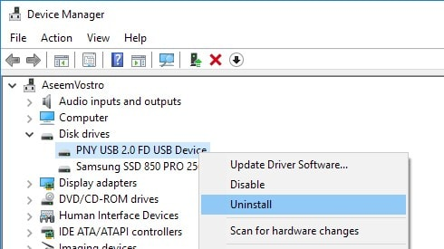 uninstall the disk drive  drivers