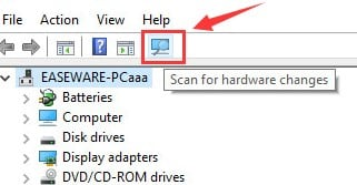 tap on the icon of scan  new hardware changes