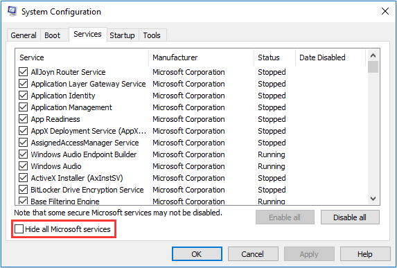 hiding services in system configuration settings