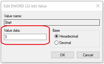 change value data to 3 to enable