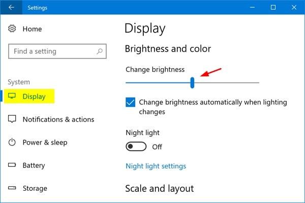 Windows Display Brightness Settings