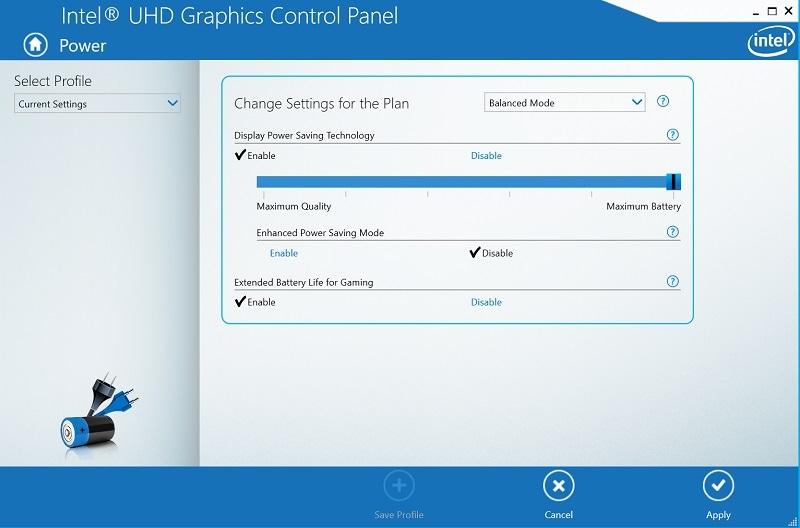 Intel Graphics Screen Brightness Settings