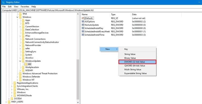 Windows Update AU DWORD