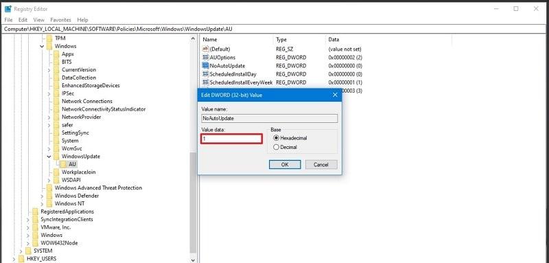 Turning Off Windows 10 Update Registry Editor