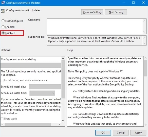 Disable Windows 10 Automatic Update