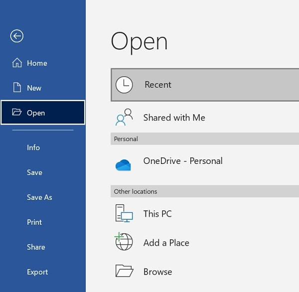 MS Word Open File