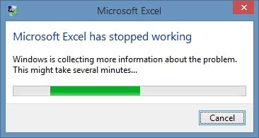MS Excel Error Stopped Working