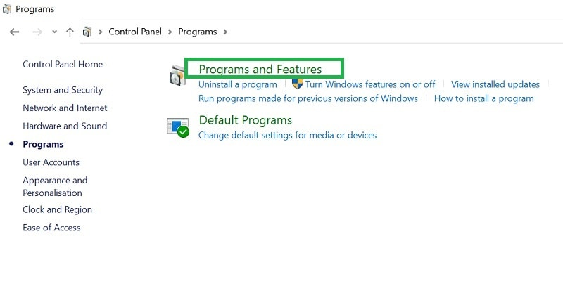 Control Panel Programs and Feature