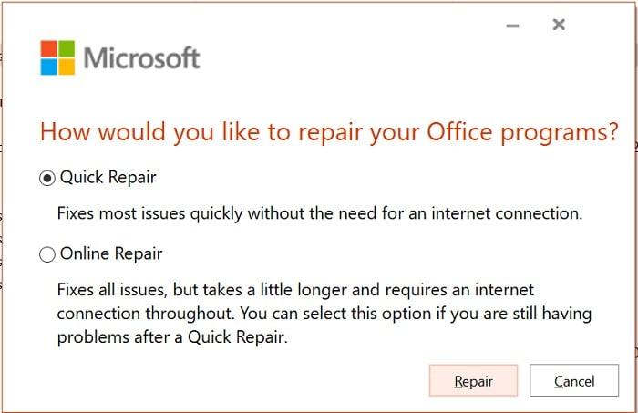 Quick Repair MS Office